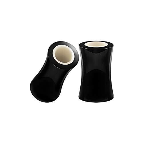 BIG GAUGES Pair of Black Horn 2gauges 6 mm Double Flared Saddle Piercing Jewelry Stretcher Ear Flesh White Bone Tunnel Lobe Plugs BG5307 ()