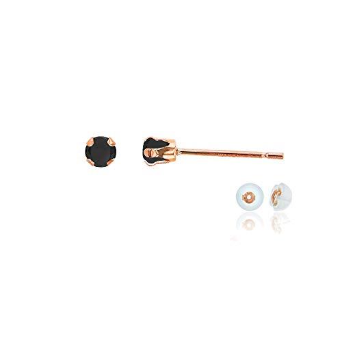 (Genuine 10K Solid Rose Gold 3mm Round Black Onyx Birthstone Stud Earrings)