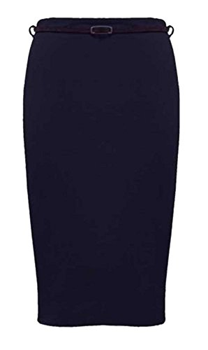 Belted Pencil Skirt - Womens Belted Plain Pencil Skirts Long Bodycon Stretch Office Skirt (22, Navy)