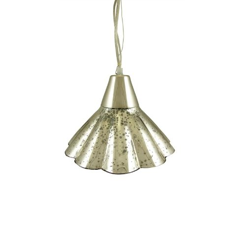"""CC Home Furnishings 10.5"""" Mercury Glass Fluted Hanging Pendant Ceiling Lamp"""