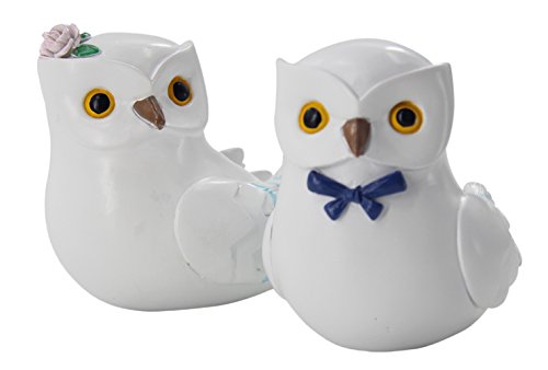 Snowy Owl Wedding Cake Topper Bride & Groom Love Bird Cake Topper, woodland wedding Decorations (Wedding Owl Topper Cake)
