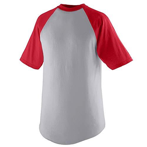 (Augusta Sportswear 423 50/50 S-Sleeve Raglan T-Shirt-Athletic Heather/Red-Small )
