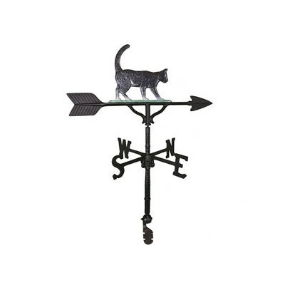 Montague Metal Products 32-Inch Weathervane with Color Cat Ornament