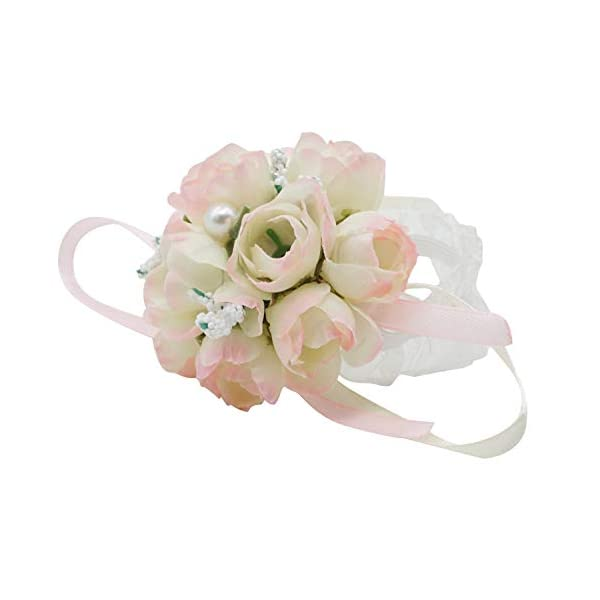 Lovful Pack of 2 Bridesmaid Wedding Wrist Corsage Party Prom Hand Flower Wristband,LightPink
