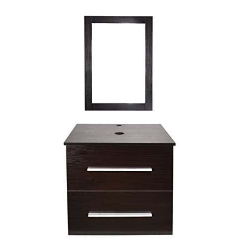 "ELECWISH 24"" Modern Bathroom Vanity Set With Mirror, Wood Wall Mounted Cabinet, 2 Drawers, Brown"