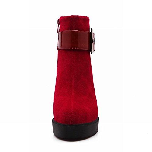 Latasa Donna Elegante Stivaletto Con Cerniera Buco Hihg Con Plateau E Stivaletti Alla Caviglia Rosso
