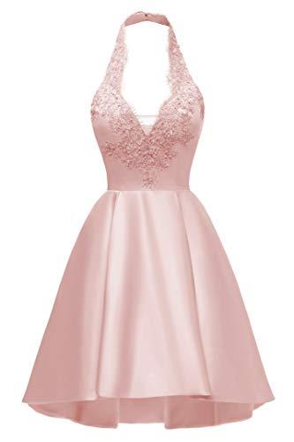 - Women's A-line Halter Lace Applique Short Prom Dress Asymmetrical Satin Party Dress with Pockets Blush Pink2