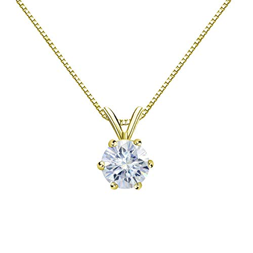 Diamond Wish 14K Yellow Gold Round Moissanite Solitaire Pendant 6.5mm 1 TGW in 6-Prong (White) 18
