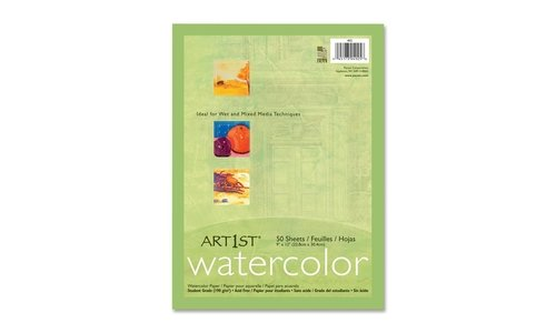 Pacon Corporation 4925 Watercolor Paper, 90lb, 9''x11'', 50SH/PK, White by Pacon