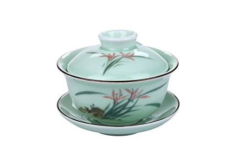 I-MART China Traditional Teacup/Chinese Tea Cup/Gaiwan Tea Cup (Orchid) (Teacup Painted Hand)