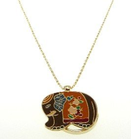 [AXS300-021: Brown Elephant Necklace with Magnifier Reading Lens] (Elephant Magnifier)