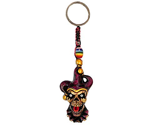 Tongue Out Jester Evil Clown Halloween Horror Handpainted Figurine Dangle Handmade Keychain Multicolored Braided Macramé Bead Silver Keyring Hanging Ornament Charm Car Bag Accessory