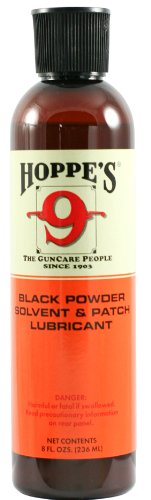 Hoppe's No. 9 Black Powder Gun Bore Cleaner and Patch Lubricant, 8 oz. - Powder Black Patch
