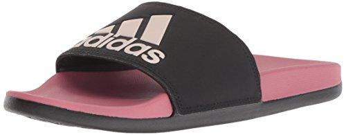 adidas Women's Adilette Comfort Slide Sandal, Black/Vapour Grey Metallic/Trace Maroon, 8 M US
