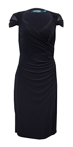 Lauren Ralph Lauren Womens Petites Rouched Cocktail Dress Black 8P