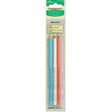 WATER SOLUBLE PENCIL (ASSORTED) PACK OF 3, WHITE, BLUE, PINK #5003 BY CLOVER