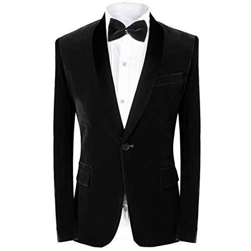 MAGE MALE Men's Tuxedo Suit Slim Fit 2-Piece Velvet Blazer Party One Button Stylish Dinner Jacket & Pants (Black, S)