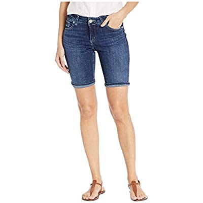 Silver Jeans Co. Women's Suki Curvy Fit Mid Rise Bermuda Shorts: Clothing