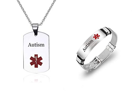 Sunling 2 Pack Free Engraving Custom Surgical Steel Medical Alert Military Dog Tag Necklace ID Bracelet Medic Disease Alarm Jewelry Set for Women Men