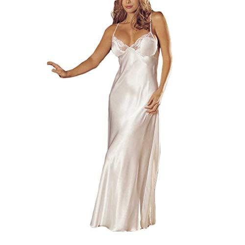 Satin Design Scalloped (Women's Long Trimmed Satin Nightgown V-Neck Full Slip Lingerie Sleepwear (M, White))
