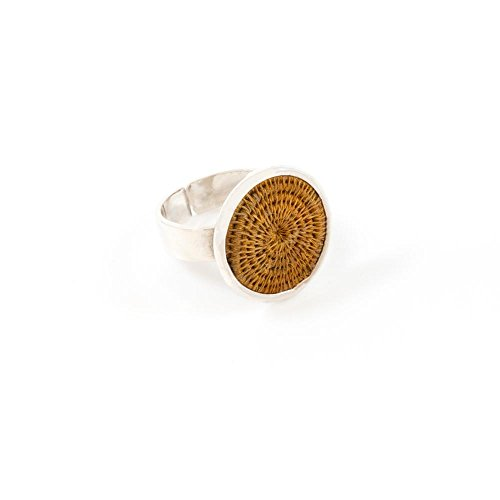 Baskets of Africa Fair Trade Sisal and Alloy Small Classic Disk Bezel Ring, Ginger, SJR51GN by Baskets of Africa