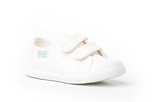 128 Calzado Niños Blanco Reforzada Zapatillas Con Made Para In Puntera Mod Spain Angelitos Infantil Lona De BAavvqz