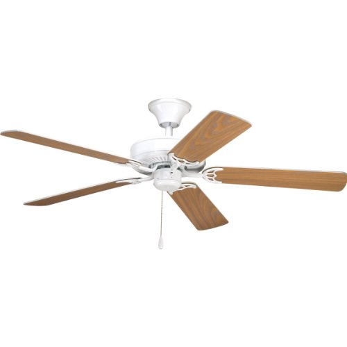 Progress Lighting P2501-30 52-Inch Fan with 5 Blades and 3-Speed Reversible Motor with Reversible White or Washed Oak Blades, White