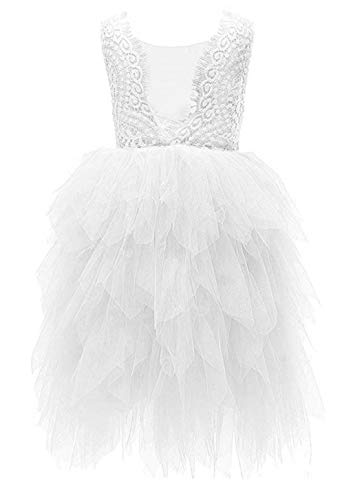 2Bunnies Girl Beaded Peony Lace Back A-Line Tiered Maxi Tutu Tulle Flower Girl Dress (White Maxi Bead, 12 Months)