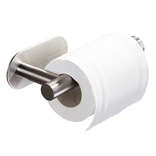 Bosszi Toilet Paper Holder New Upgraded No Drilling Needed Self Adhesive Wall Mount Paper Towel Roll Holder for Bathroom Bedroom Kitchen, SUS 304 Stainless Steel Brushed Finish
