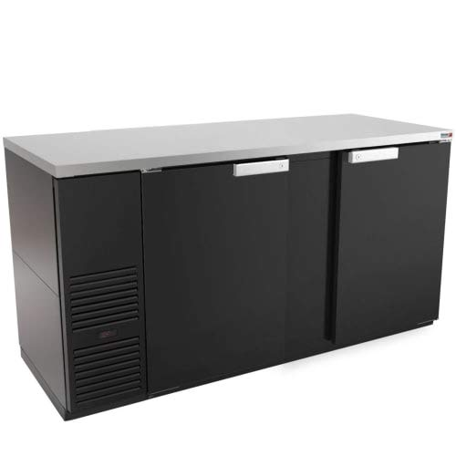 "70"" Black Exterior Refrigerated Bar Cooler With Epoxy Rails"