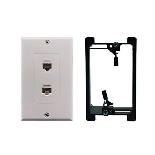 Cat6 Wall Plate and Keystone,Fly Tiger,RJ45 Jack Ethernet Connector,Single Gang Low Voltage Mounting Bracket Device,Female to Female,White(2 Port+Bracket)