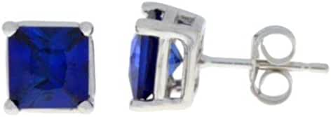 2 Ct Created Blue Sapphire Princess Cut Stud Earrings .925 Sterling Silver Rhodium Finish