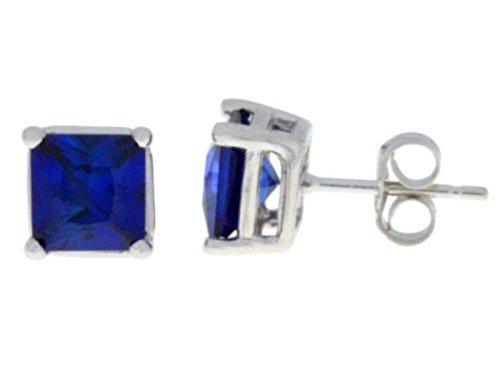 Created Blue Sapphire Princess Cut Stud Earrings .925 Sterling Silver Rhodium ()