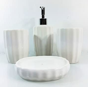 4 piece stunning ceramic bathroom accessories set in 2 lovely colours black and white white