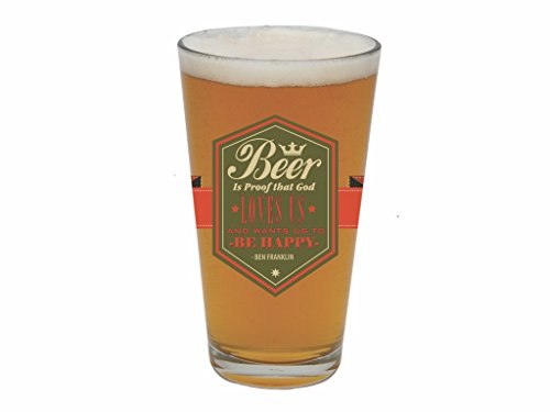 Barstool Philosopher 20-Ounce Pint Glass, Beer Is Proof ()
