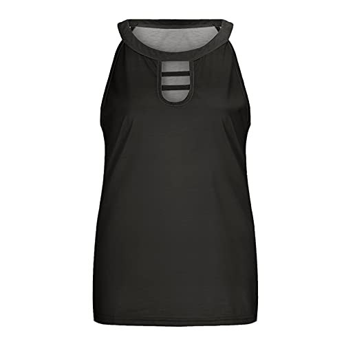 Kavitoz Tank Top Damen T Shirt Oberteile Aushöhlen Weste Ärmelloses Loose Crop Tops T-Shirt Cami Crop Top Blusen Tunika Tanktop