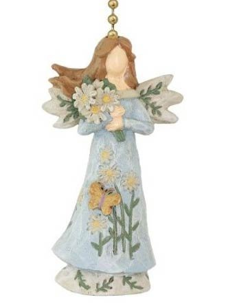 Clementine Floral Angel Ceiling Fan Pull w/Flower Bouquet and Butterflies