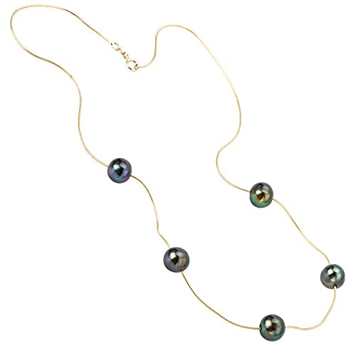 14k Yellow Gold Chain with 5 Dyed Black Cultured Freshwater Pearls- 16 IN