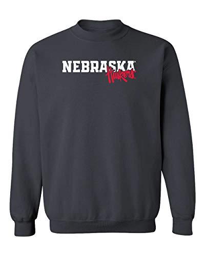 CornBorn Nebraska Huskers Sweatshirt - Crewneck Fleece Nebraska Legacy Script Huskers - Black - 5X ()