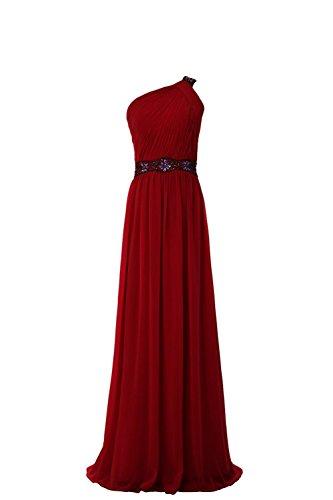 YiYaDawn Edles One-Shoulder Kleid Ballkleid Abendkleid für Damen Weinrot Vmqqb0m