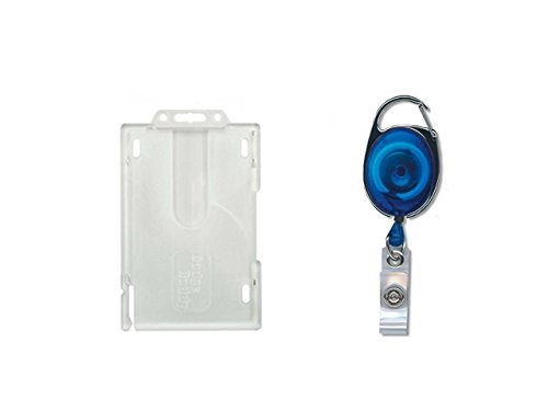ID Card It Vertical Format Badge Buddy Enclosed Double Identity Pass Badge Holder and Blue Premier Yo Yo Badge Reel - - Badge Reel Double
