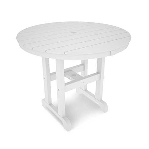 POLYWOOD RT236WH Round Dining Table, 36-Inch, White by POLYWOOD