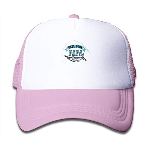 Reel Cool Papa Mesh Baseball Cap Kid's Adjustable Trucker Hat Pink