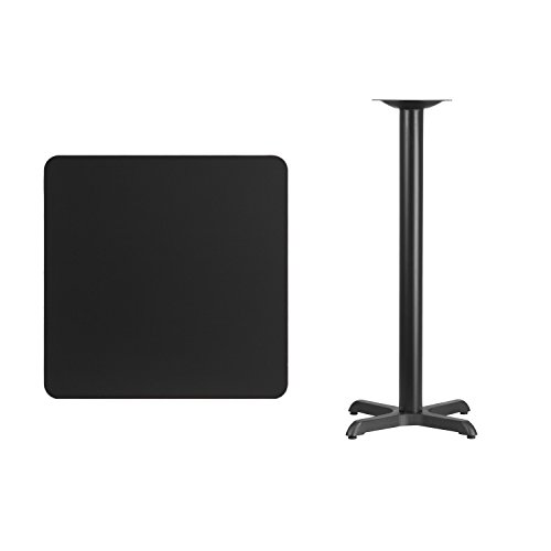 "Flash Furniture 30"" Square Black Laminate Table Top with 22"" x 22"" Bar Height Table Base For Sale"