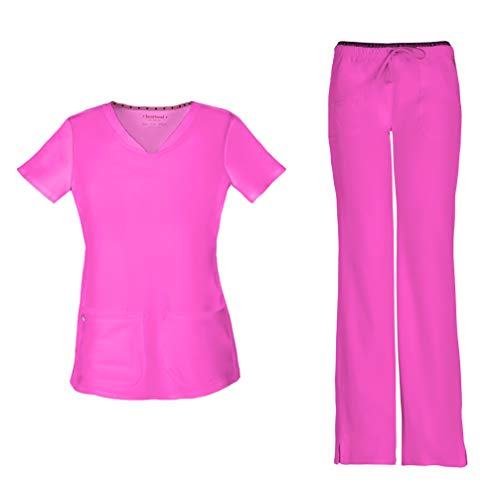 (HeartSoul Women's Pitter-Pat Shaped V-Neck Scrub Top 20710 & Heartbreaker Heart Soul Drawstring Scrub Pants 20110 Medical Scrub Set (Glam Fuschia - Large/Medium))