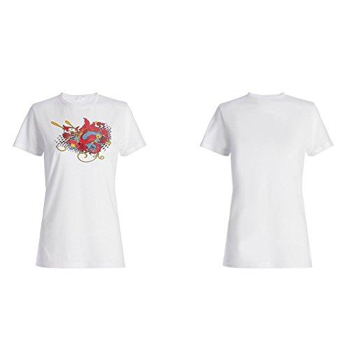 Arte Hermoso Floral Del Pájaro camiseta de las mujeres o138f