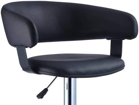 Powell s Furniture Black Faux Leather Barrel and Chrome Adjustable Height Bar Stool