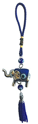 Bravo Team Lucky Evil Eye Wall Hanging Ornament for Protection and Blessing, Elephant Charm for Strength and Power, Pendant Decoration for Car, Home and Office, Great Gift (Silver) ()