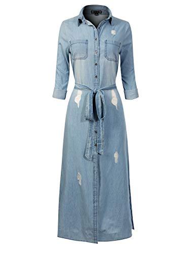 (Instar Mode Women's Denim Loose Button Down Casual Denim Chambray Shirt Dress Light Denim L)