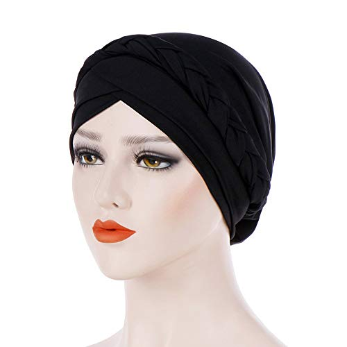 Voberry Womens Swim Cap Bathing Stretch Polyester Turban Head Cover Weaved Pleated Headwrap (Black) by Voberry (Image #2)